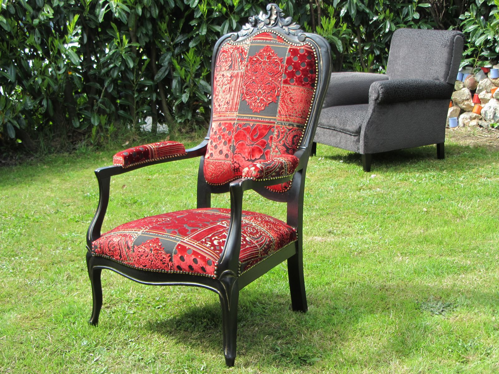 Fauteuil voltaire rocaille patine or
